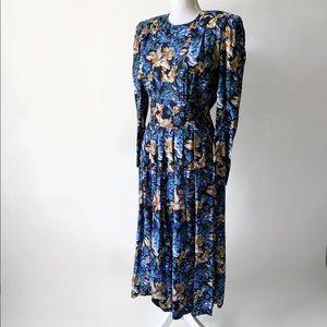 Vtg 80's Karin Stevens Puffy Sleeved Floral Dress